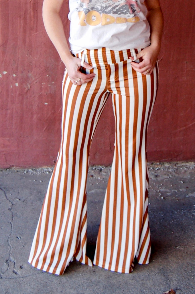 Mustard Striped Wide Bell Bottoms - Kade & Cate