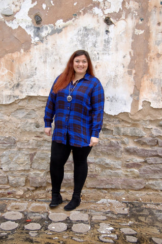 Royal Blue and Black plaid top.  Lightweight Curvy Fashionista top.