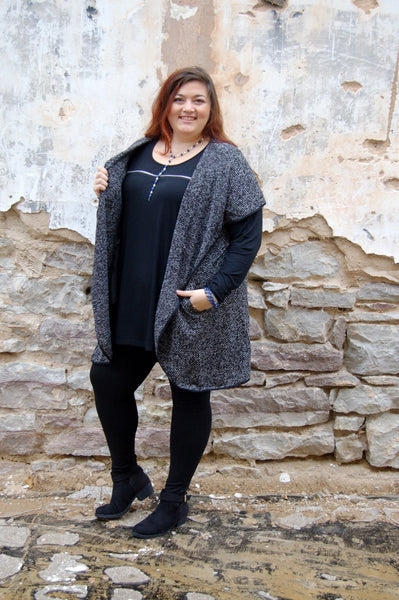 The Curvy Fashionista brand herringbone vest.  Classy plus size outerwear.  Herringbone vest with pockets.