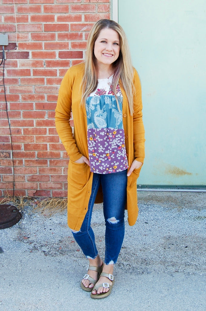 Mustard button front cardigan with pockets.  Open front sweater cardigan.  fall cardigan.
