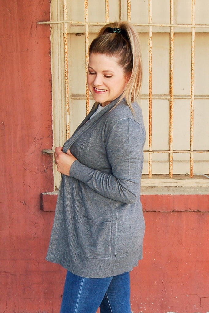 Heather gray open front cardigan with pockets.  sweater cardigan.  heather grey cardigan.  ribbed knit cardigan.  neutral cardigan.