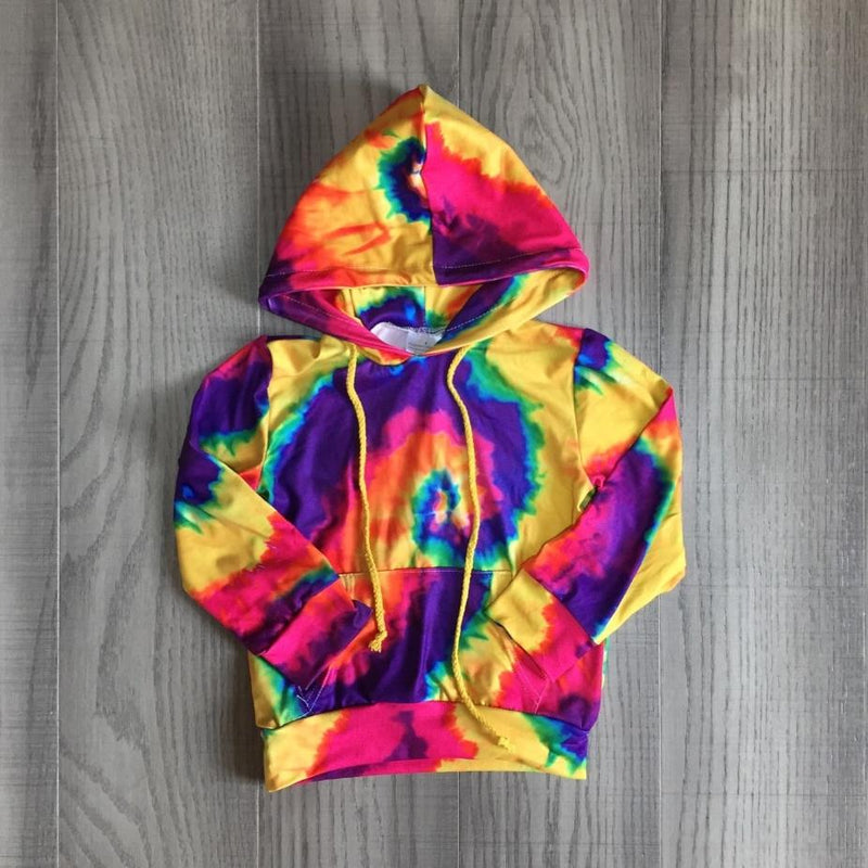 Bright Colors Tie-Dye Hooded Top