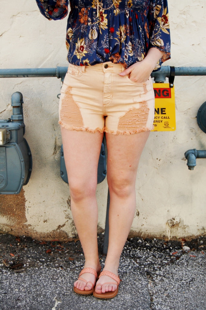 High Waist distressed denim shorts.  Sneak Peek High waisted shorts.  high rise cutoffs.  blush cutoffs.