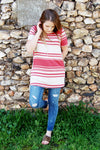 Marsala Stripe Top