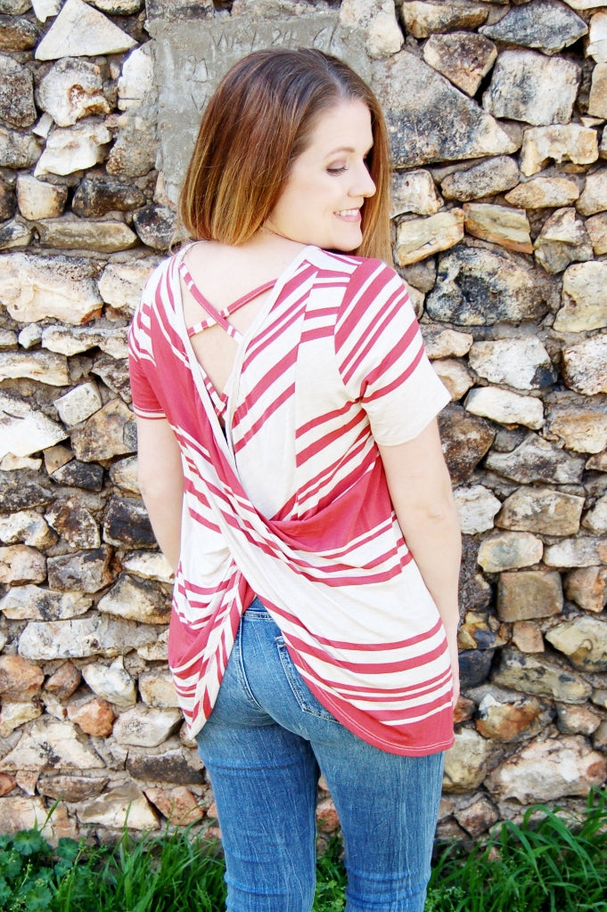 First Love Drape back tunic style top.  Striped top.  criss cross back detail.  marsala and oatmeal striped tee.