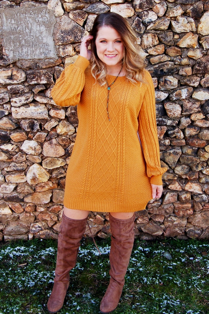 Mustard cable knit sweater dress.  Another love margo sweater dress.
