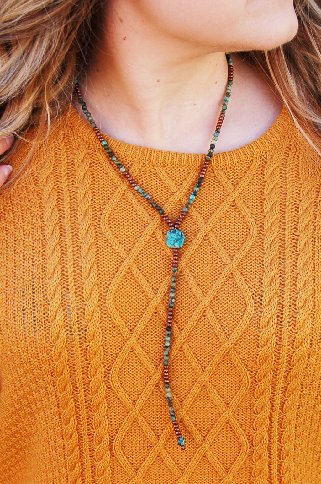 Jewelry Junkie African Turquoise and copper bead necklace.