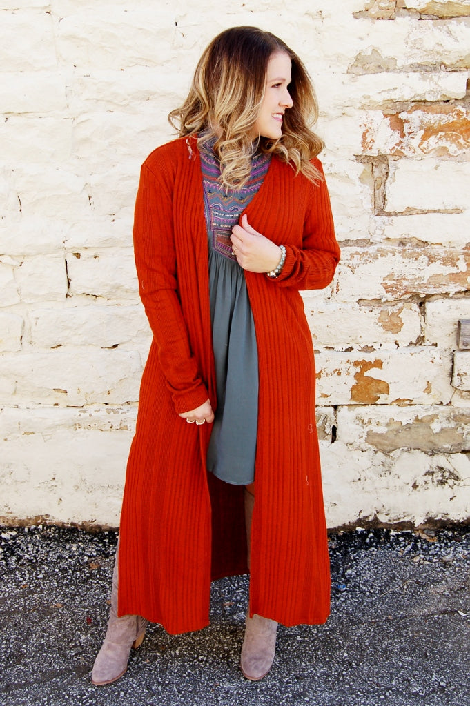 Full length rust sweater knit open front duster cardigan.  Bohemian style cardigan.