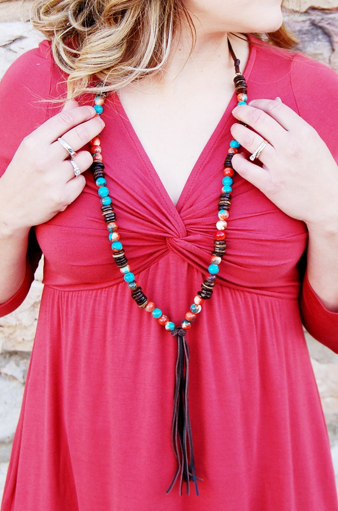 Multi Colored Turquoise Necklace with wood beads and leather tassel.  Jewelry Junkie Western Bohemian handmade jewelry.