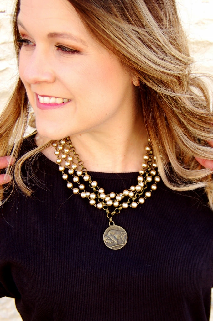Champagne Pearl & Indian Head Coin Necklace - Kade & Cate