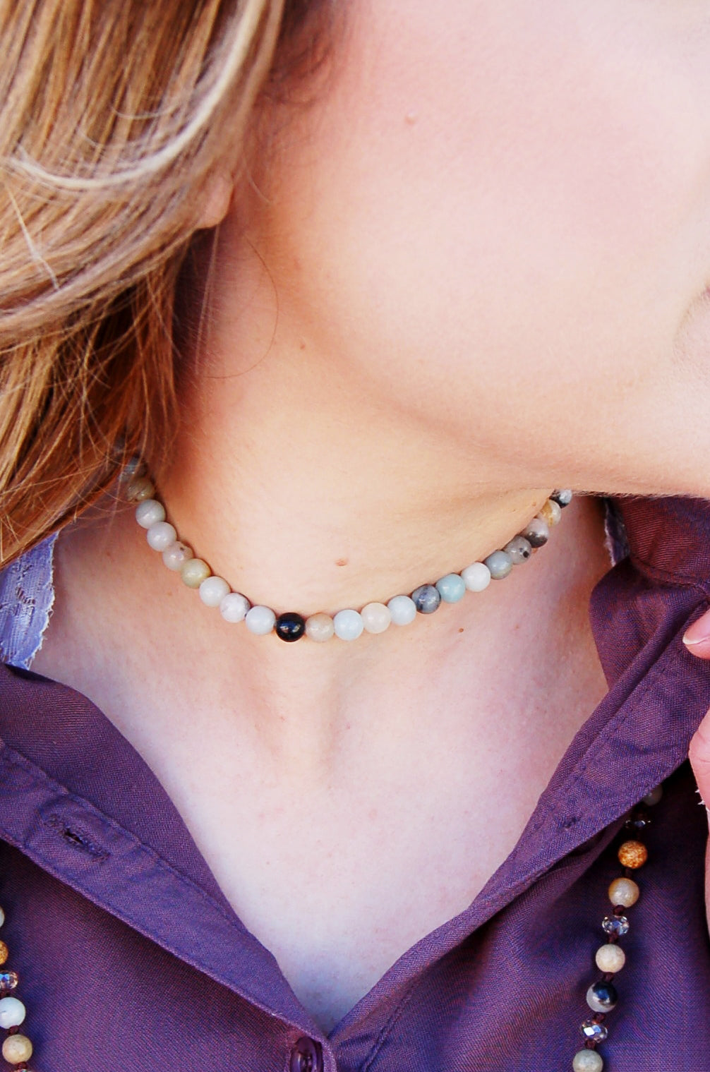Authentic amazonite choker necklace by Jewelry Junkie