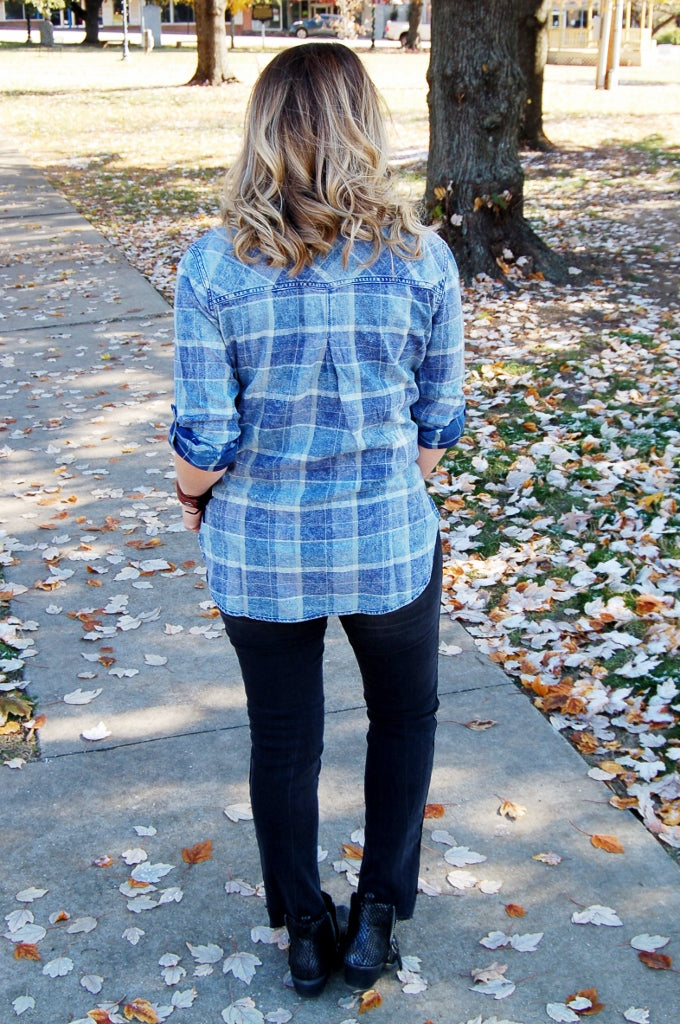 Plaid Denim Button Up Top