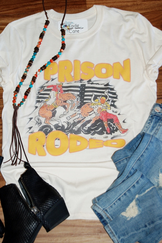 Vintage retro western prison rodeo graphic tee shirt. Gina's Tees graphic tee.