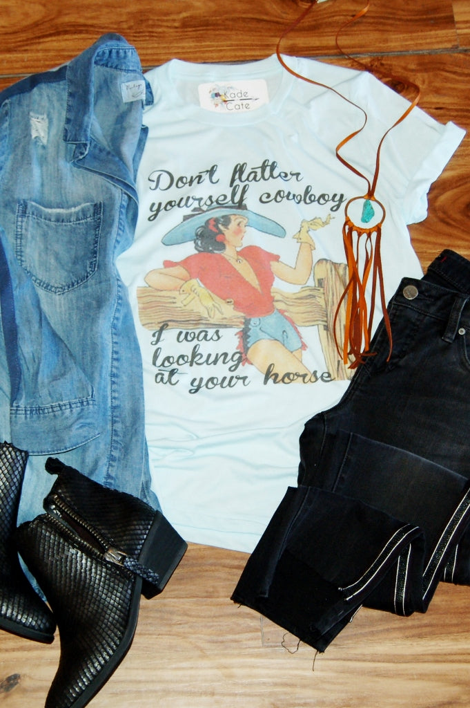 Don't Flatter Yourself Cowboy Tee - Kade & Cate
