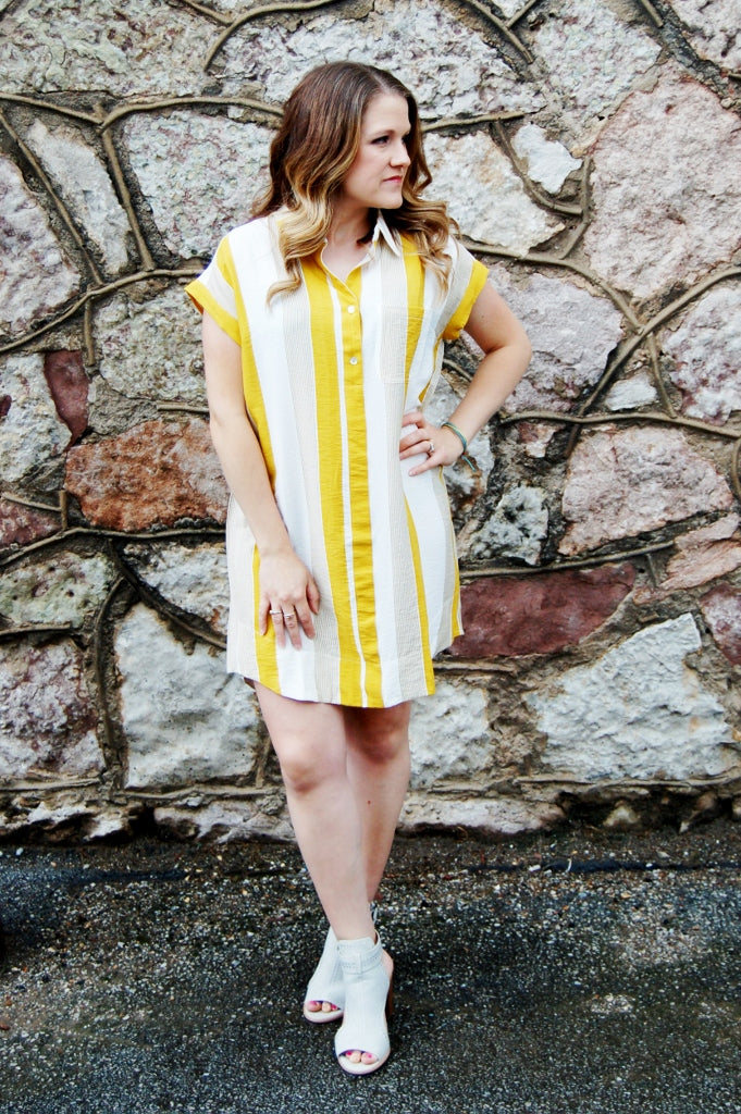 Mustard striped tunic dress.  Mens dress shirt style dress.  She + sky dress.  Right on time dress.  Dressy casual dress.
