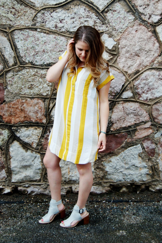 Right on Time Striped Dress {Mustard}