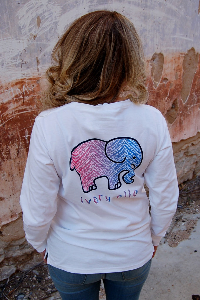 White Ivory Ella Boho Chevron print long sleeve tee shirt.  Save the elephants with Ivory Ella.  Bohemian brand.