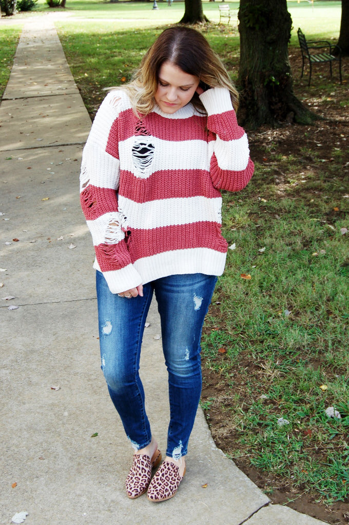 Beige & Brick Distressed Chenille Sweater - Kade & Cate