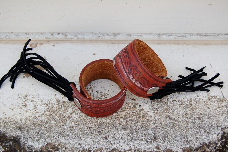 Burgundy & Fringe Leather Cuffs - Kade & Cate