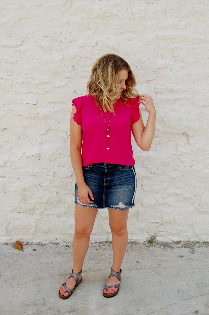 Raspberry Sorbet Ruffle Sleeved Top - Kade & Cate