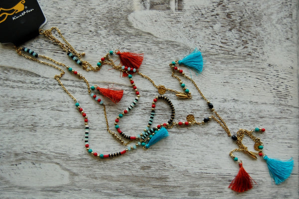 Long gold toned Boho necklace.  Beaded necklace with tassels.  Hippie jewelry. Kurtmen jewelry.