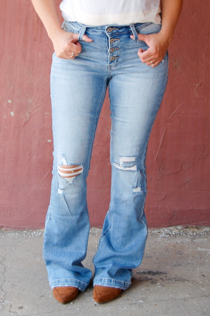 Stevie Distressed Mid Rise Medium Wash Flare Jeans