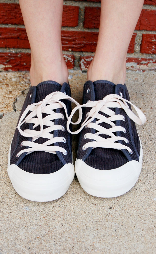 Charcoal Cord Sneakers - Kade & Cate