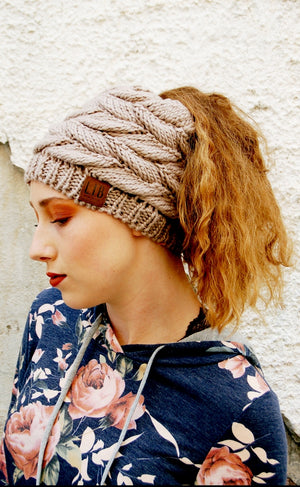 Cable Knit Messy Bun Beanie - Kade & Cate