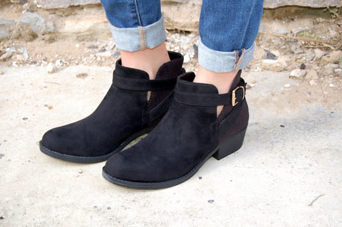 Black suede & corduroy ankle bootie by GC Shoes.  Black bootie.  Fall bootie.