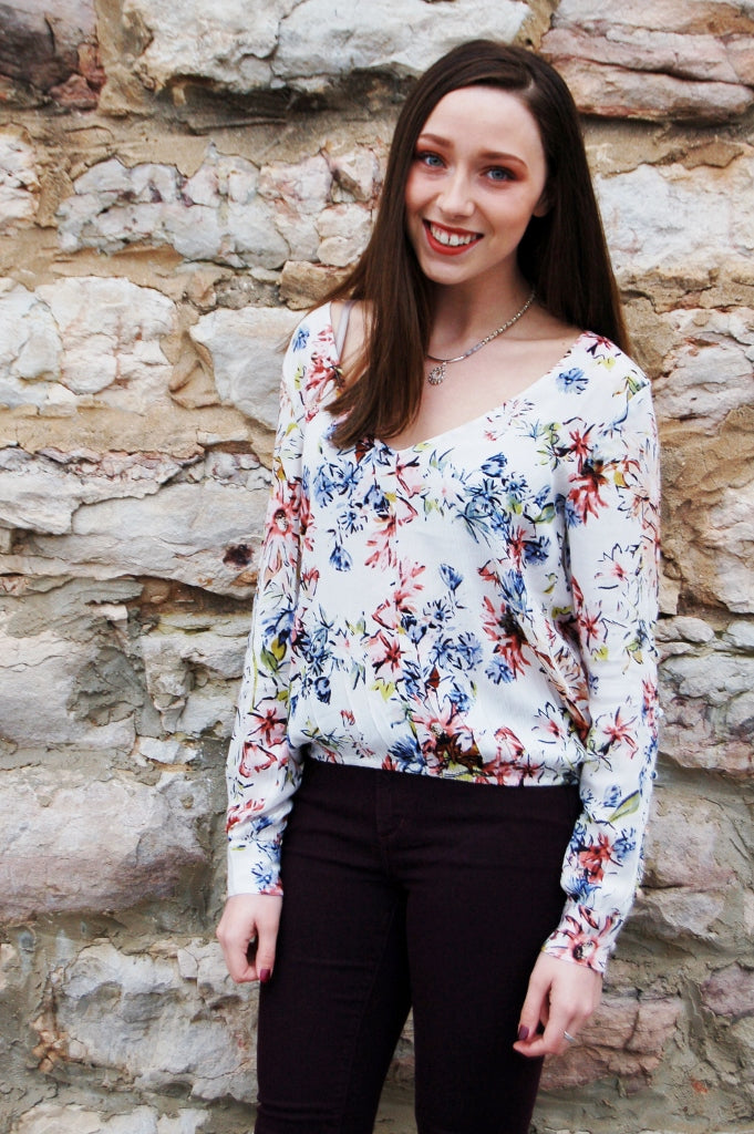 Dressy Boho floral blouse by O'Neill.  Starling top.  Spring floral shirt.