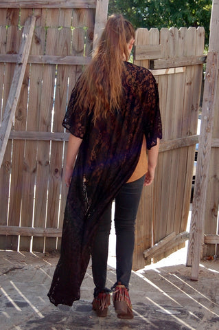 Full length all over lace duster in classic black.  Black duster.  Western Bohemian duster.  Fall style.