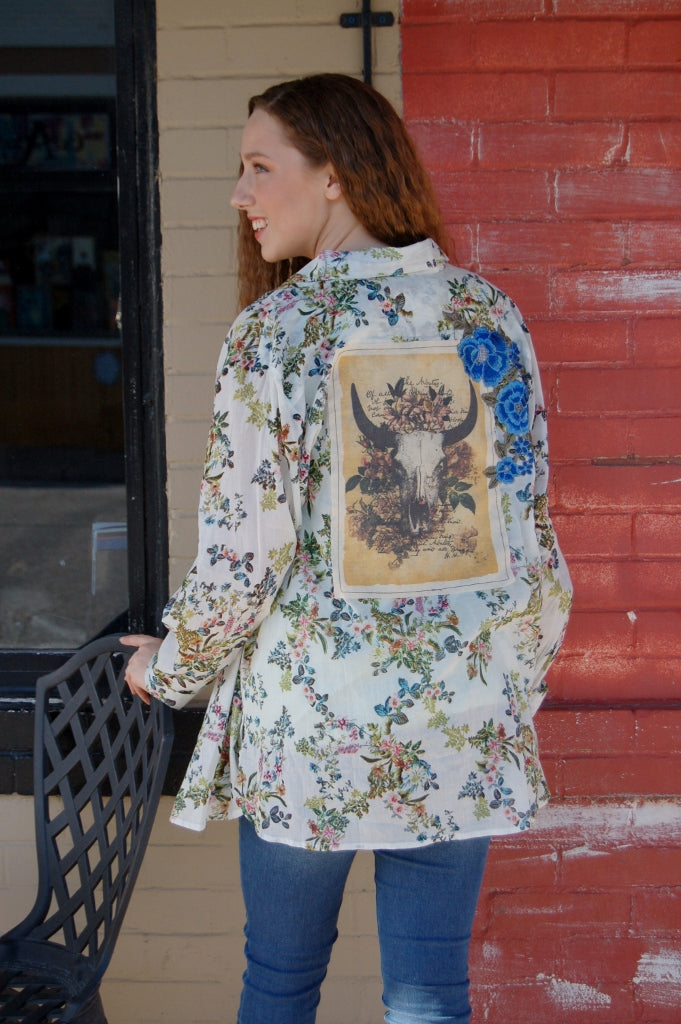 Boho Jane button up floral top with bull head patch and floral applique.  Western, Bohemian style button up top.