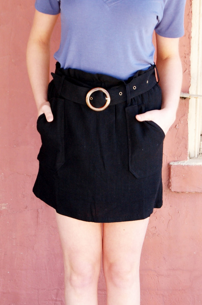 In the Open Paperbag Belted Skirt