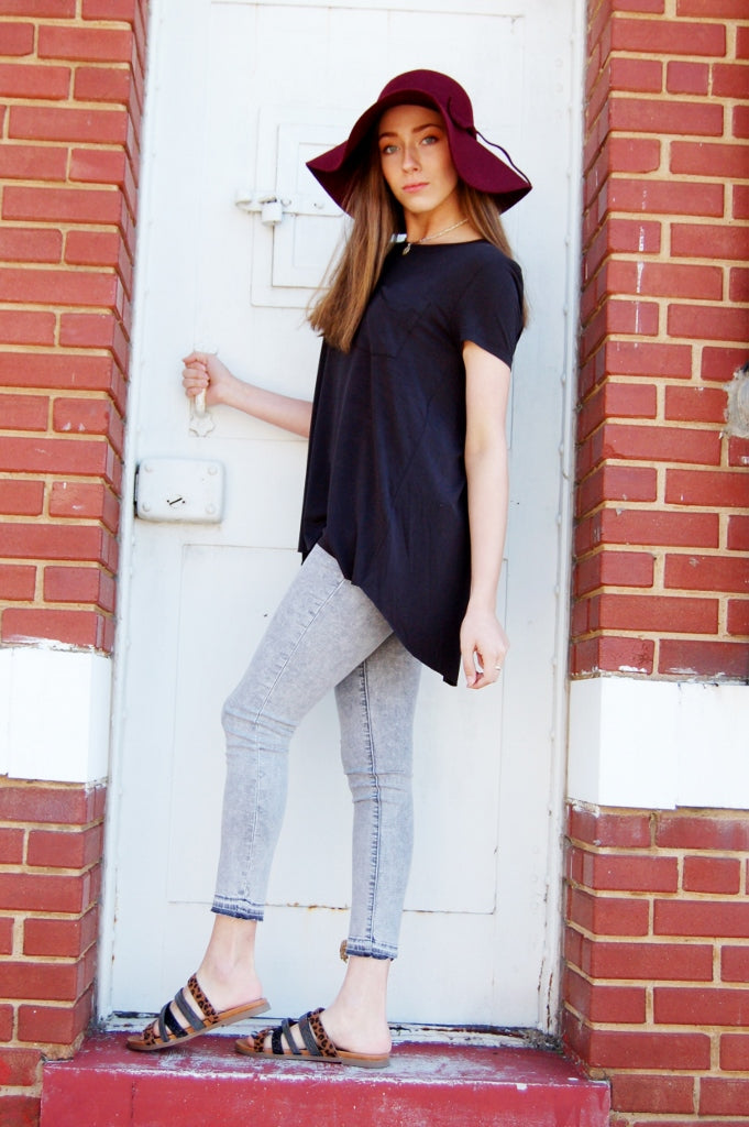 another love paris split back crew neck tee.  sexy open back black top.  basic top.