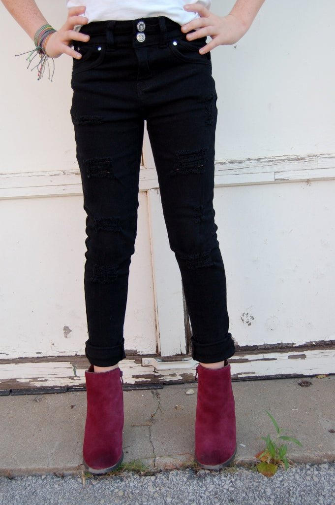 Distressed Black Skinny Jeans - Kade & Cate