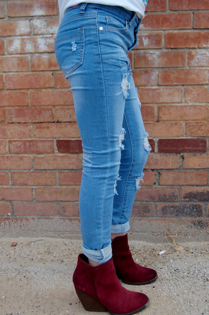 Distressed Light Denim Skinny Jeans - Kade & Cate