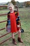 Young girls striped open front cardigan with elbow patch.  Bohemian style for kids.  Children's boutique.