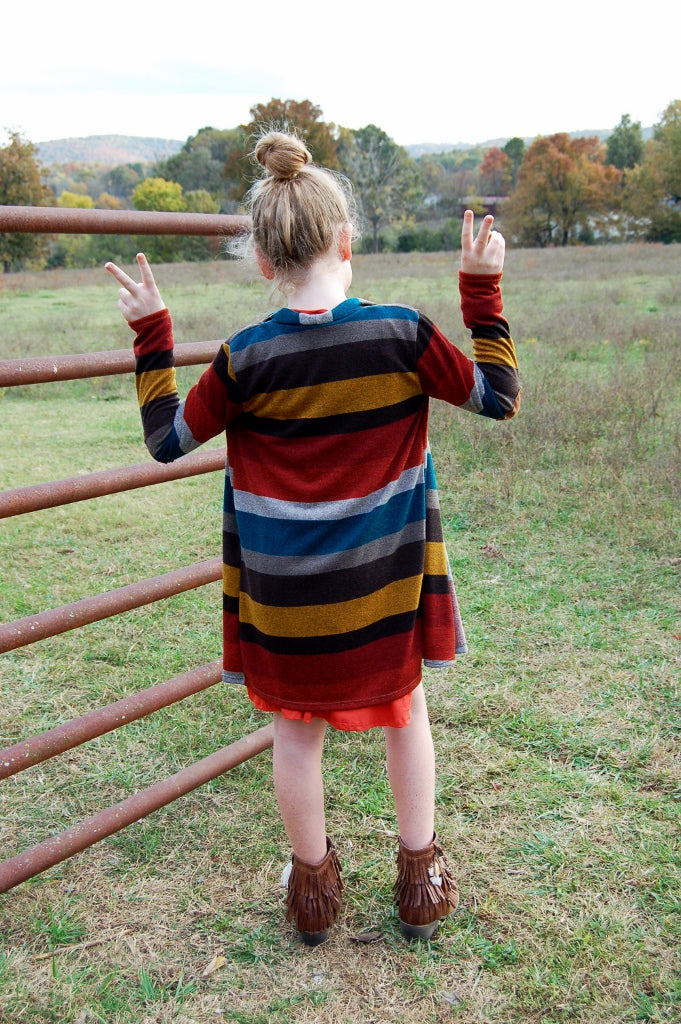 Striped Cardigan w/ Elbow Patch