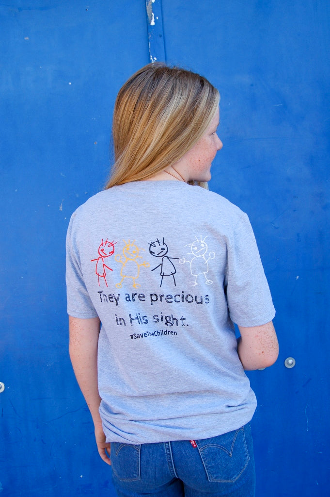 They are precious in his sight tee.  Save the children tee.  Save our children tee.  Fundraising tee.  graphic tee.  end human trafficking tee.