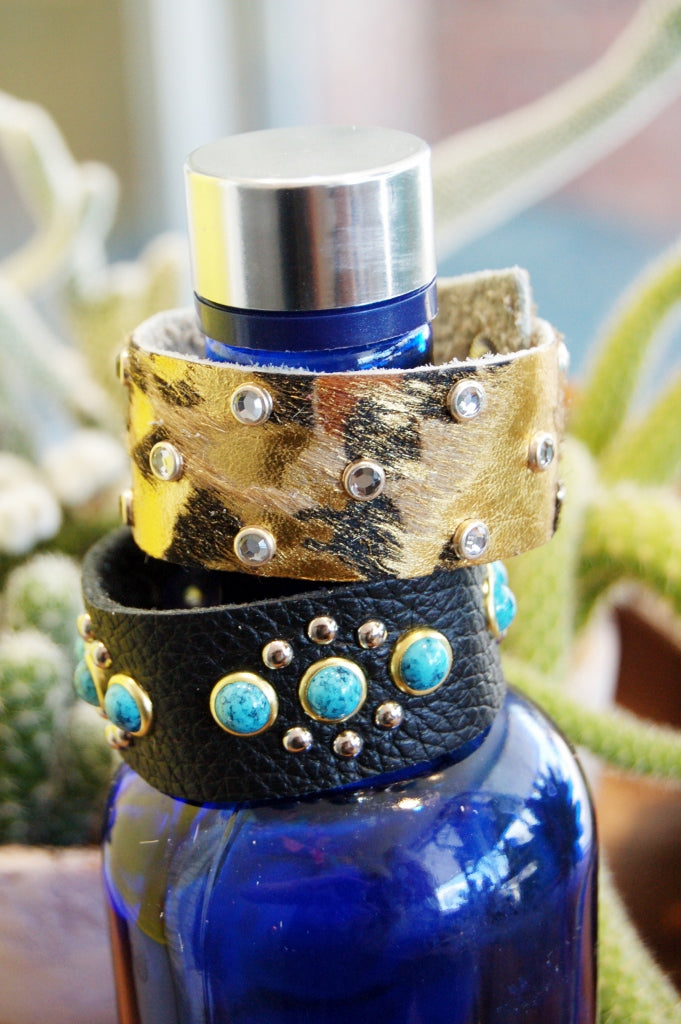 Adorned Leather Snap Bracelets - Kade & Cate