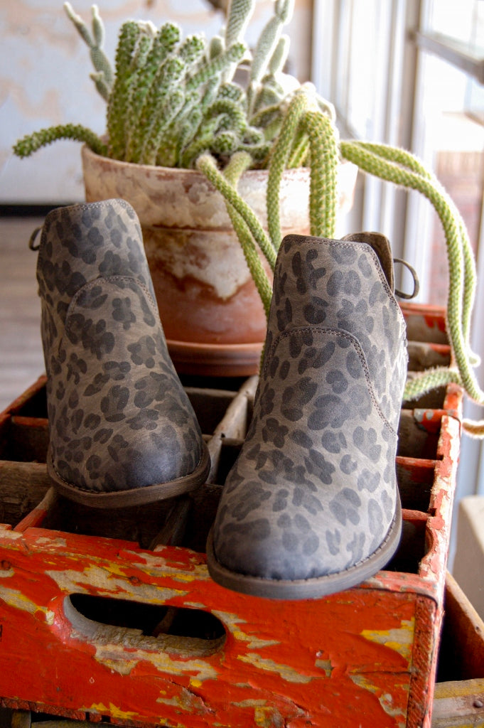 Smoky grey leopard ankle booties.  NFR western style booties.  Boho style ankle booties.  Fall boots.