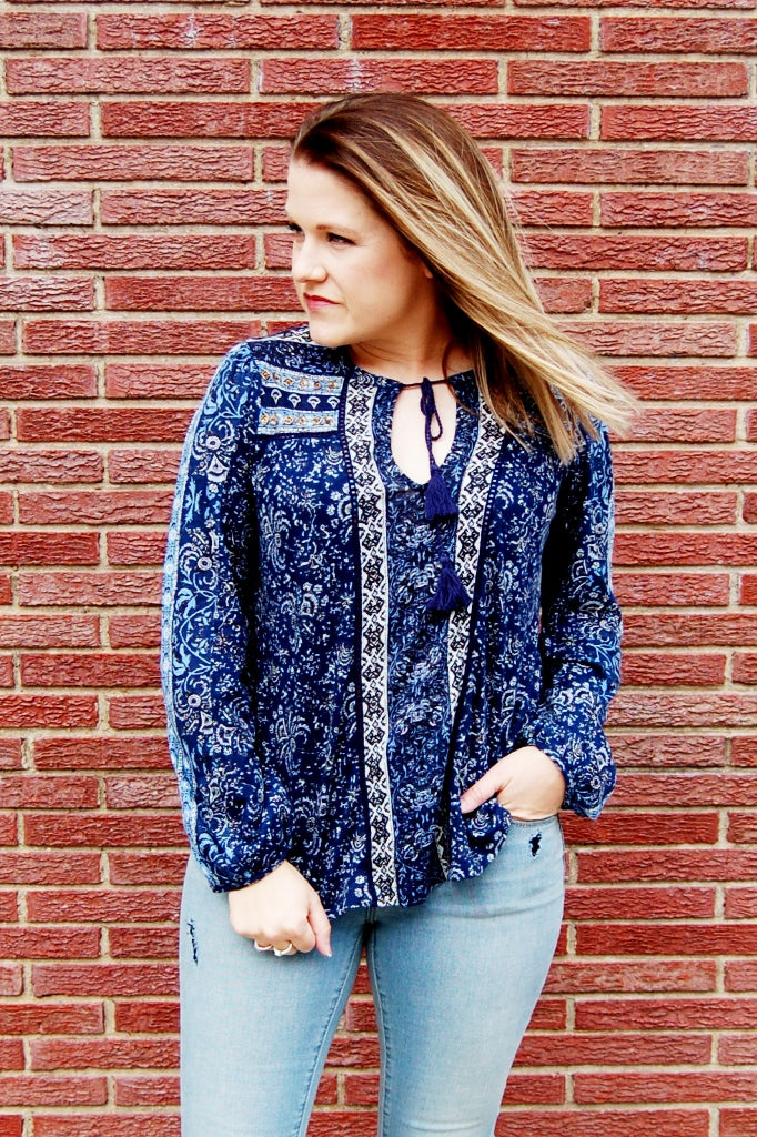 Daydreamer Peasant Top with Beading - Kade & Cate