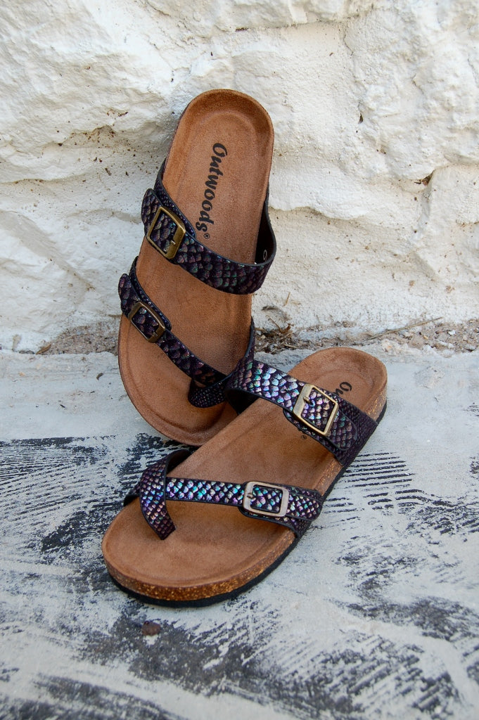 Birkenstock inspired double strap mermaid printed sandals.  Outwoods sandals.