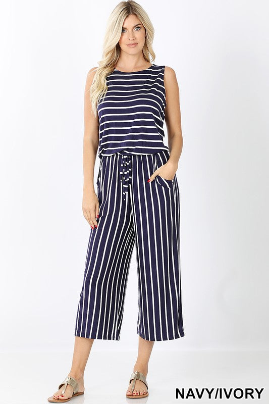 Navy & White Striped Crop Romper - Kade & Cate