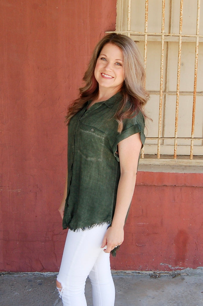 Green With Envy Button Up Top with Frayed Hem - Kade & Cate