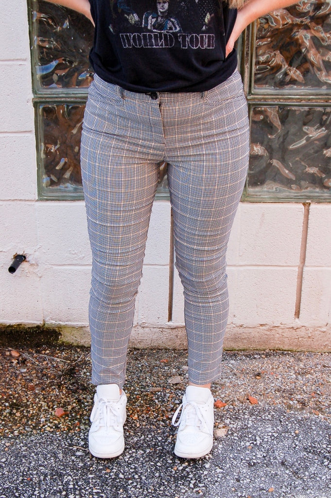 Jacquard Skinny ankle length slacks.  plaid pants.  90's grunge pants.  ankle dress pants.