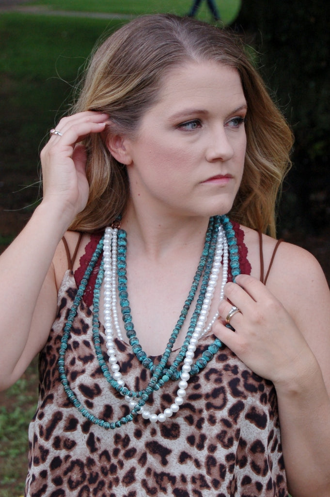 Patina & Pearl 5 Strand Necklace & Earring Set