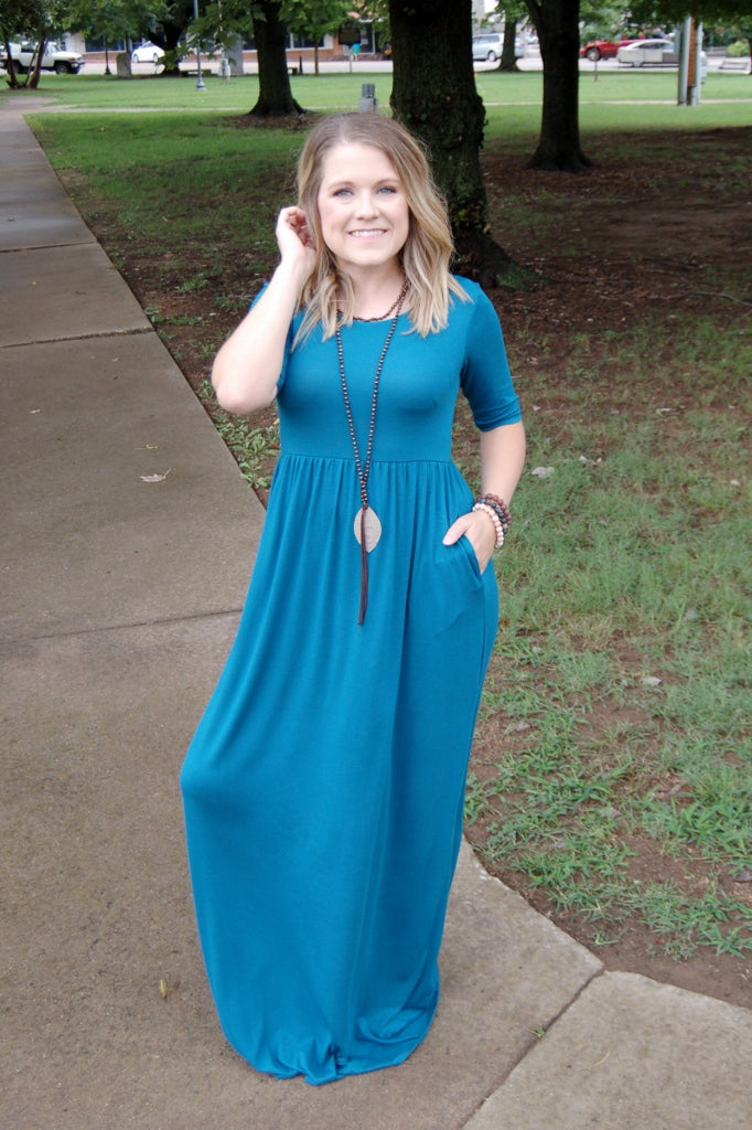Beautiful Day Maxi Dress {Teal} - Kade & Cate