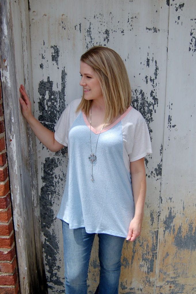 Oversized lightweight knit top with keyhole back.  Summer top.  Casual colorblock tee.