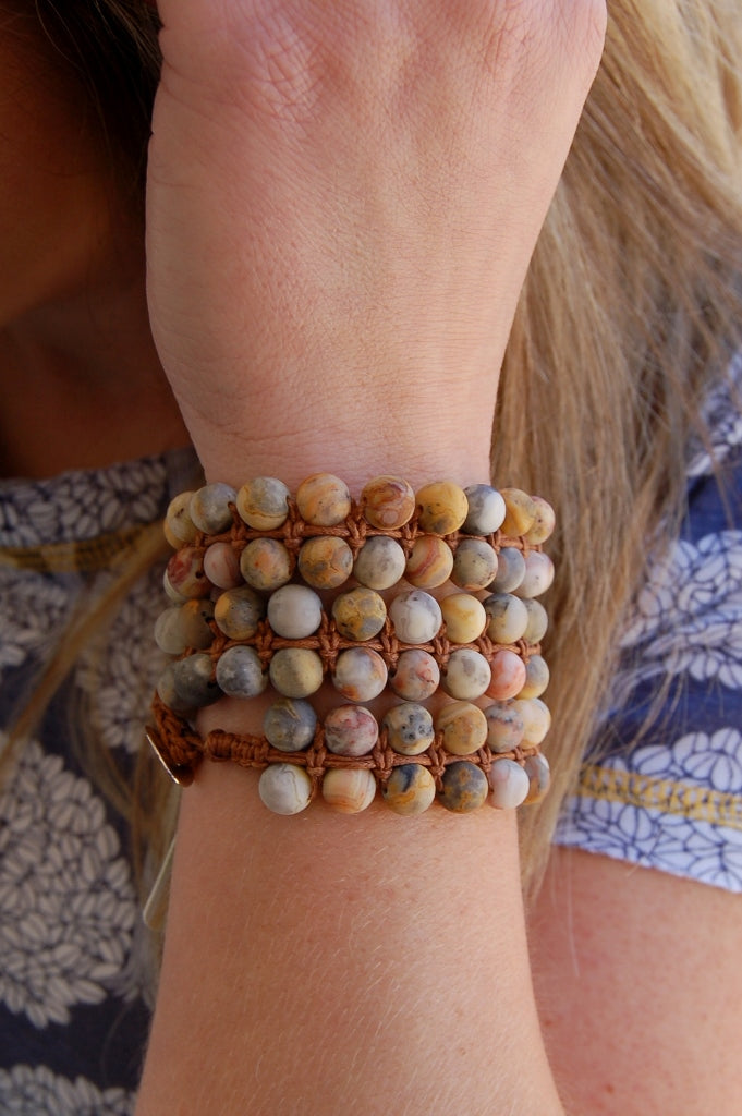 Frosted Crazy Agate Wrap Bracelet